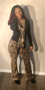 Snakeskin flare leg pants with scarf