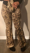 Load image into Gallery viewer, Snakeskin flare leg pants with scarf