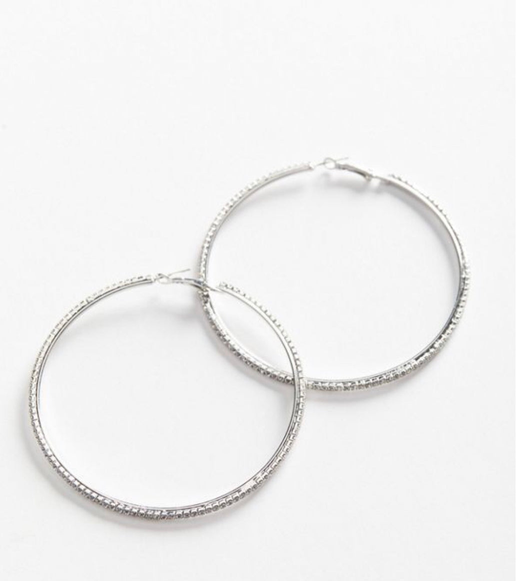 Silver Bling Hoops- Medium