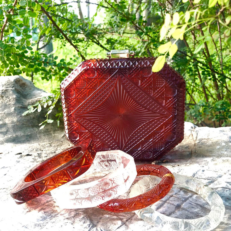 Hand Carved Octagon Clutch Amber