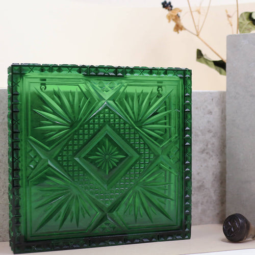 Hand Carved Box Clutch Emerald Green