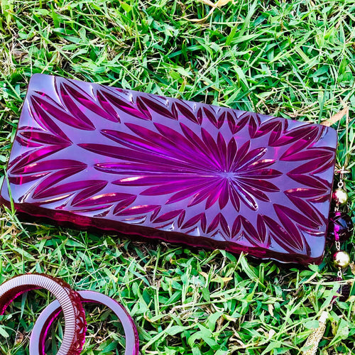 Long Rectangle Clutch Deep Purple