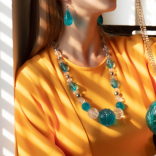 Beaded Large Sphere Necklace Aqua & Clear