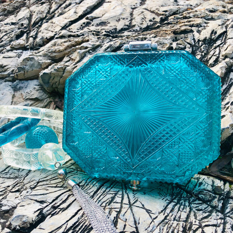 Hand Carved Octagon Clutch Aqua