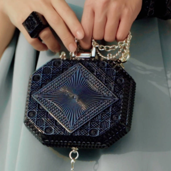 Hand Carved Octagon Clutch Black