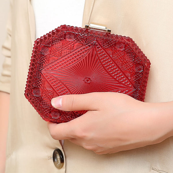 30% OFF Hand Carved Octagon Clutch Burgundy