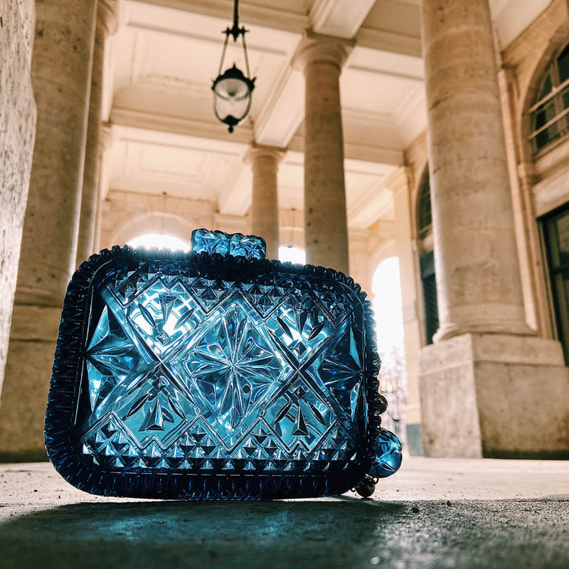 Hand Carved Clutch Classic Blue