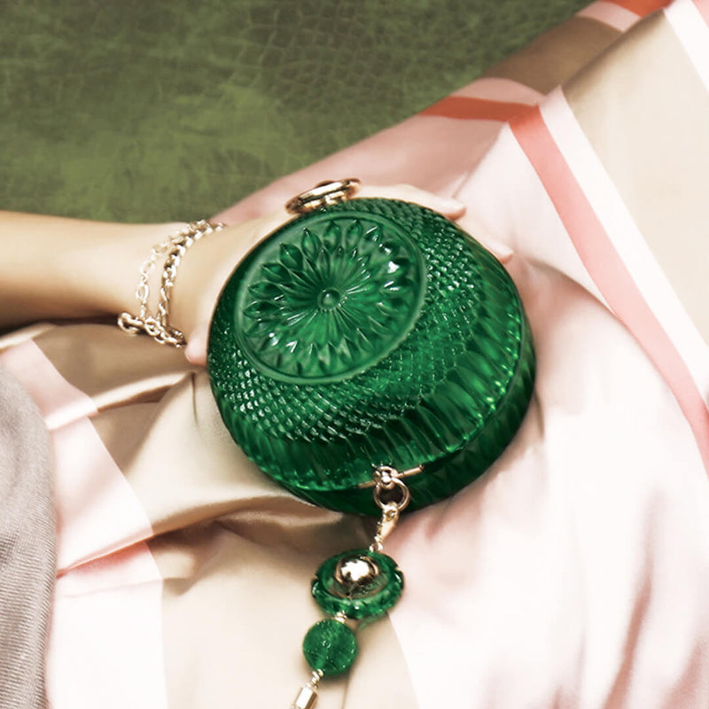 Hand Carved Sphere Clutch Emerald Green