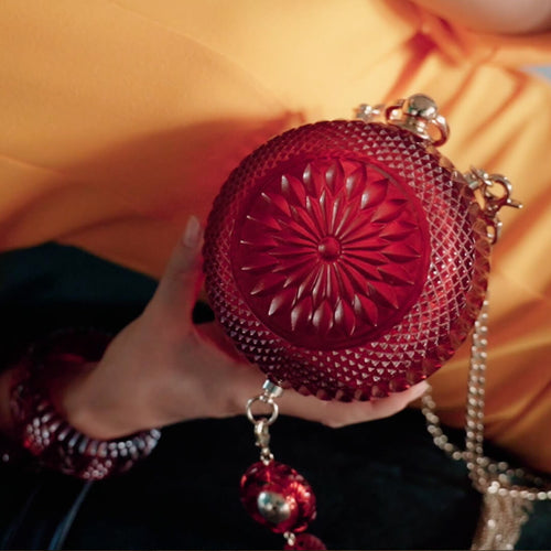 50% OFF Hand Carved Sphere Clutch Burgundy