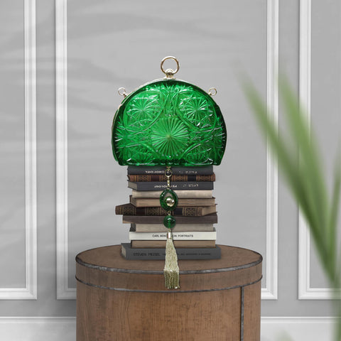 Hand Carved Fan Clutch Emerald Green