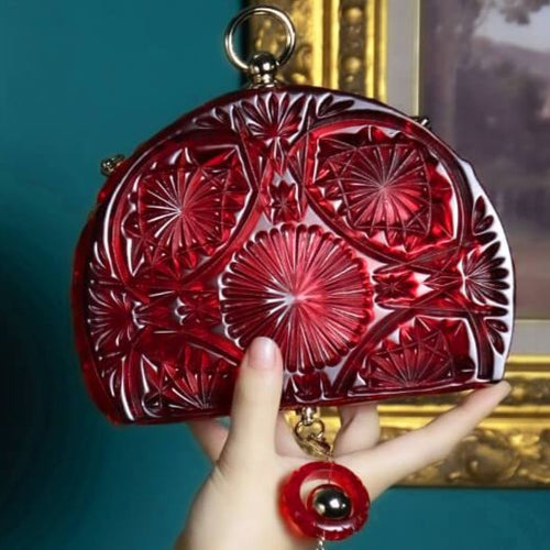 Hand Carved Fan Clutch Burgundy