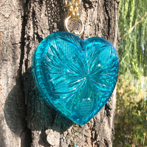 Hand Carved Heart Clutch Aqua