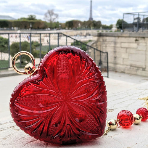 BEST SELLER Hand Carved Heart Clutch Burgundy