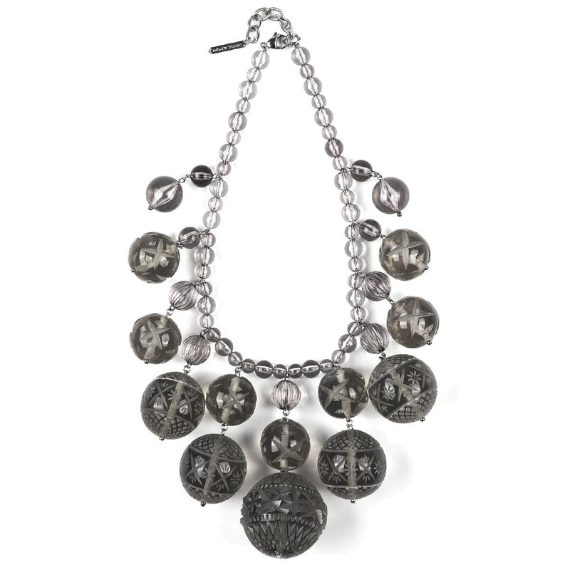 Crystalline Bib Necklace Dark Grey
