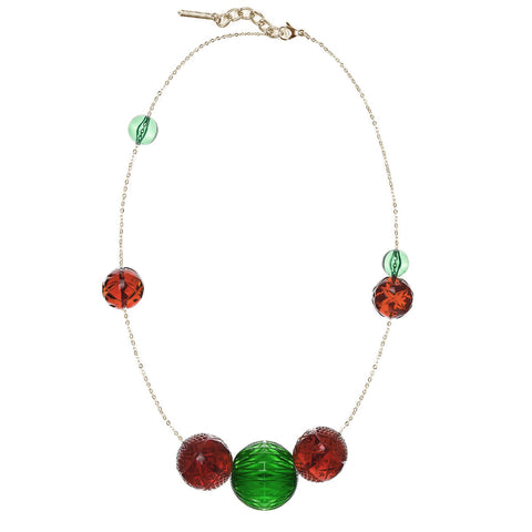NEW IN Long Random Sphere Necklace Amber & Green