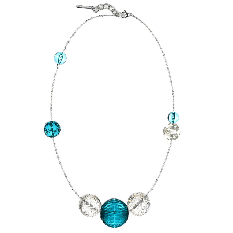 Long Random Sphere Necklace Aqua & Clear