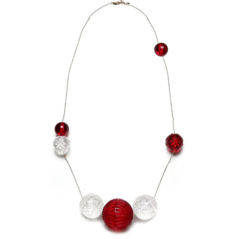 SAMPLE SALE Long Random Sphere Necklace Burgundy & Vintage Clear