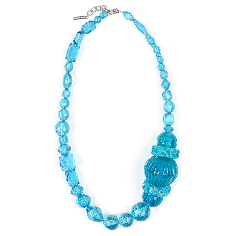Long Etched Necklace Aqua