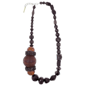 Long Etched Necklace Black & Amber