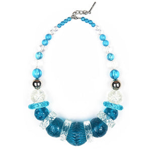 Statement Collar Necklace Aqua & Clear