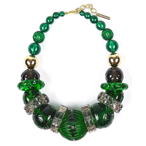 Statement Collar Necklace Emerald Green & Grey