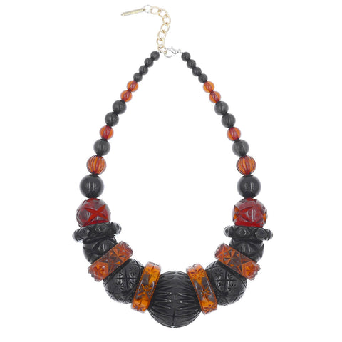 Statement Collar Necklace Amber & Black