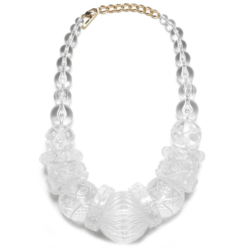 Statement Collar Necklace Vintage Clear
