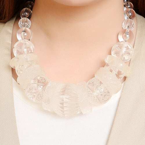BACK IN STOCK Statement Collar Necklace Vintage Clear