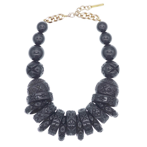 douglaspoon hand carved and polished resin necklace in black