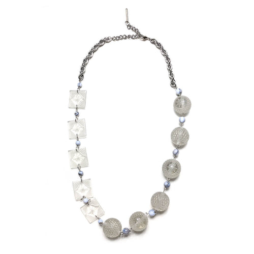 douglaspoon hand carved and polished resin necklace in light grey