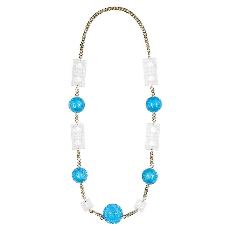 Extra Long Square & Disc Necklace Aqua & Clear