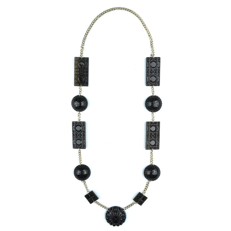 Extra Long Square & Disc Necklace Black