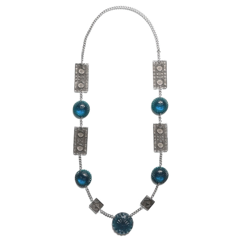 Square & Disc Necklace Blue & Grey