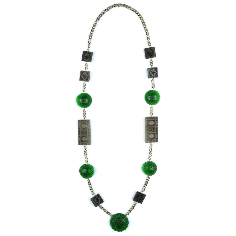 Extra Long Square & Disc Necklace Emerald Green & Grey