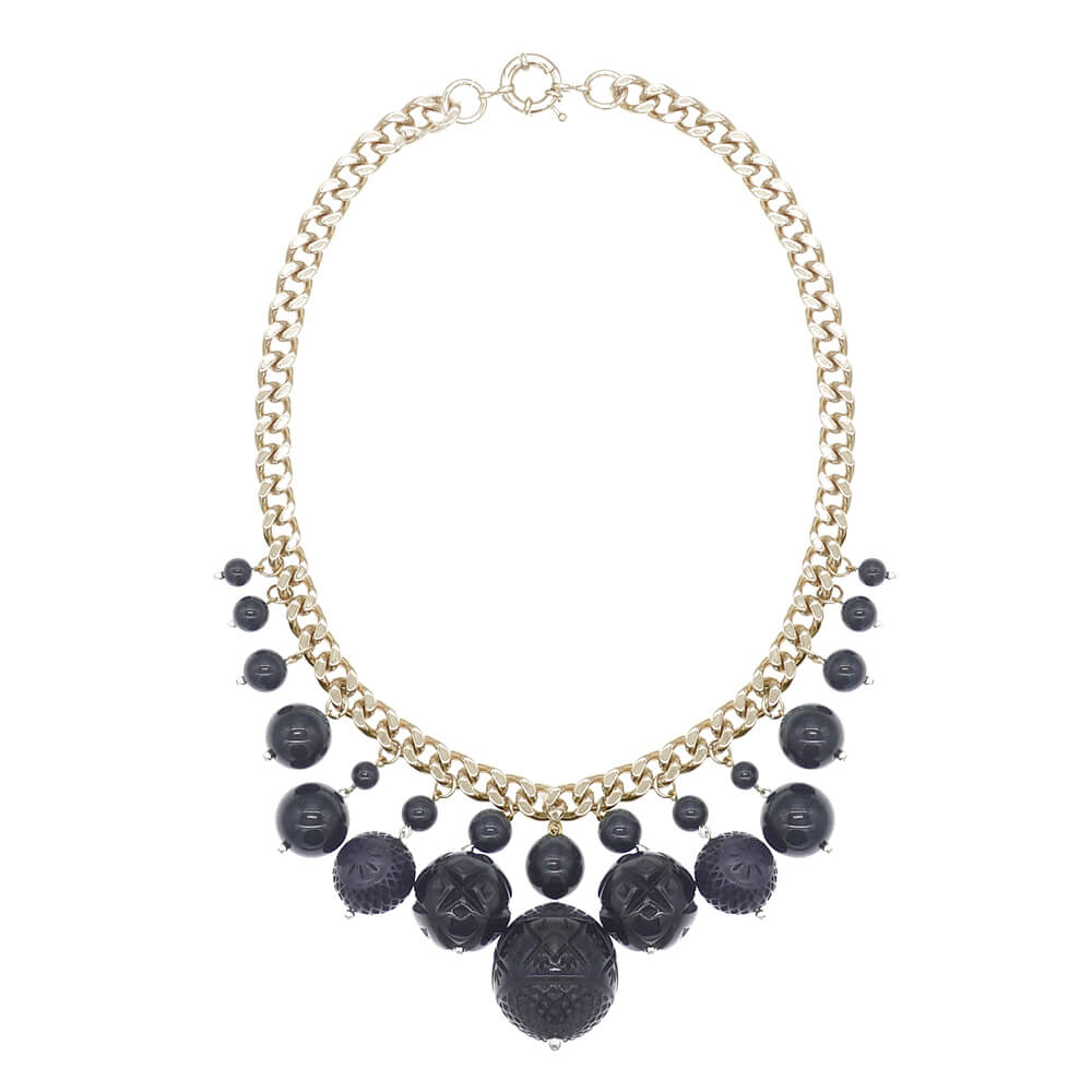 BACK IN STOCK  Etched Ball Bib Necklace Black