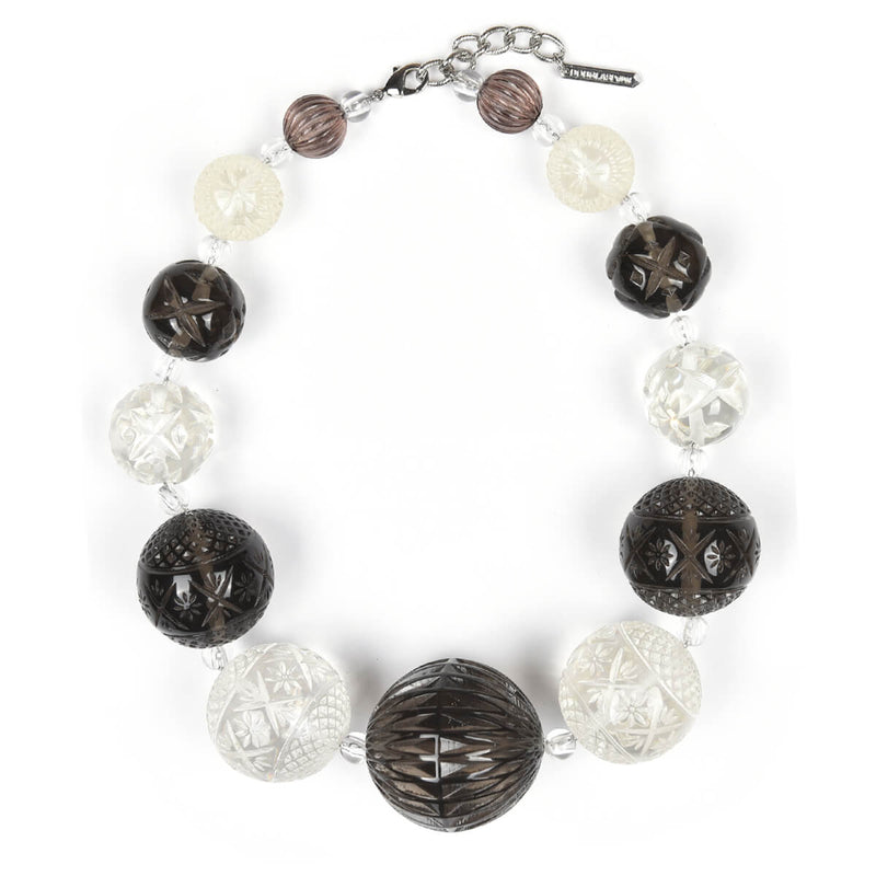 Statement Sphere Necklace Grey & Clear