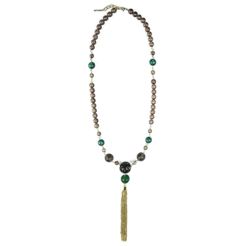 BACK IN STOCK Beaded Tassel Necklace Emerald Green & Grey