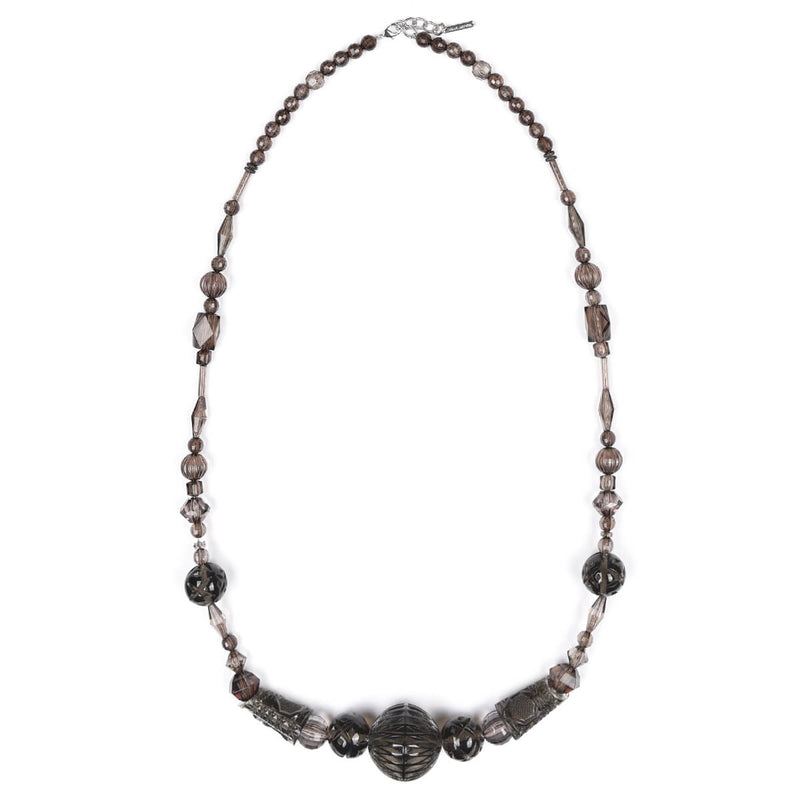 Long Multi Shaped Necklace Dark Grey