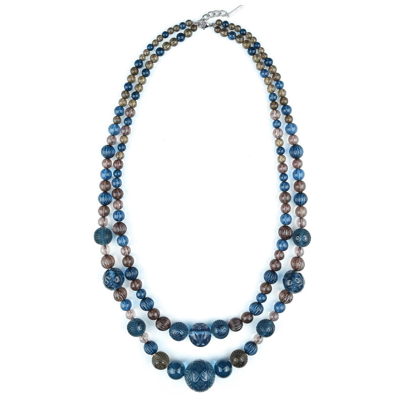 NEW IN Beaded Layer Necklace Classic Blue & Grey