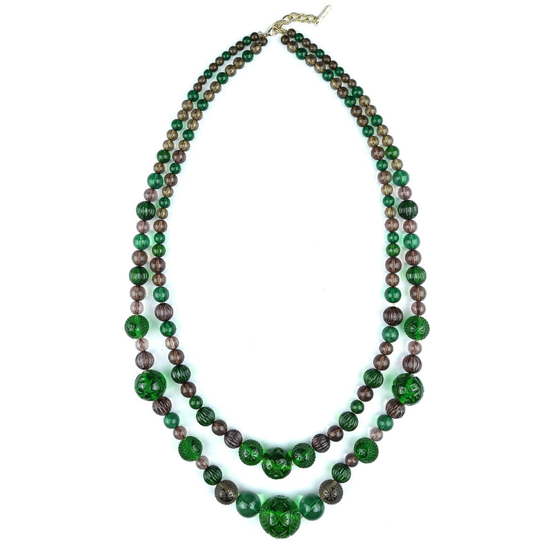 BACK IN STOCK    Beaded Layer Necklace Emerald Green & Grey