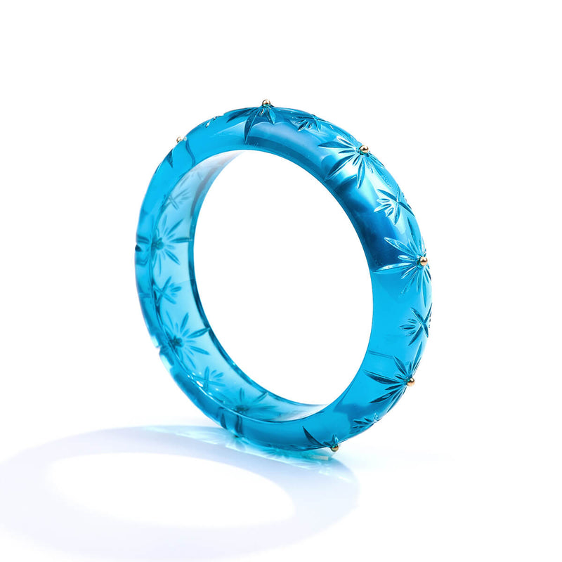 Studded Crystal Bangle Aqua