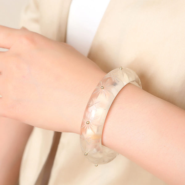 Studded Crystal Bangle Black