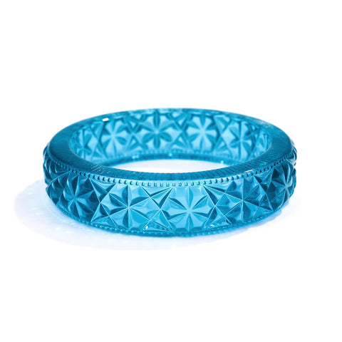 Faceted Bangle Aqua