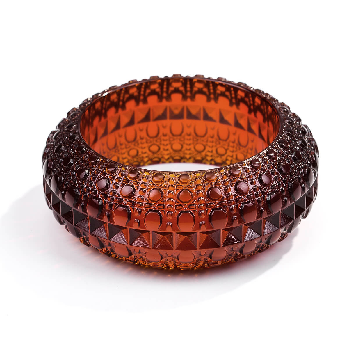 Wide Bubble Bangle Amber