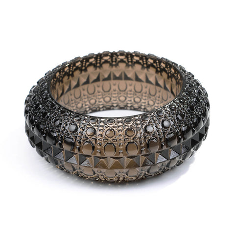 Wide Bubble Bangle Dark Grey