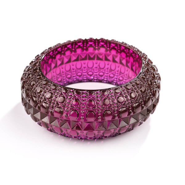 Wide Bubble Bangle Deep Purple