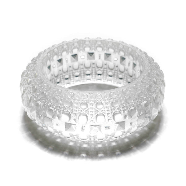 Wide Bubble Bangle Vintage Clear