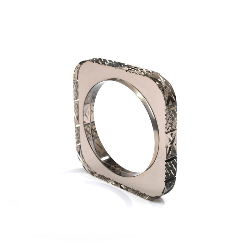 Slim Square Bangle Dark Grey