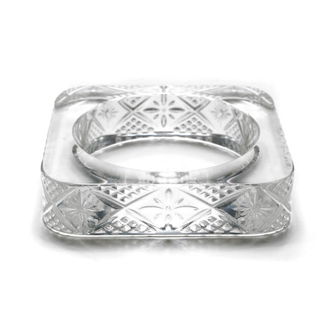 Etched Square Bangle Vintage Clear