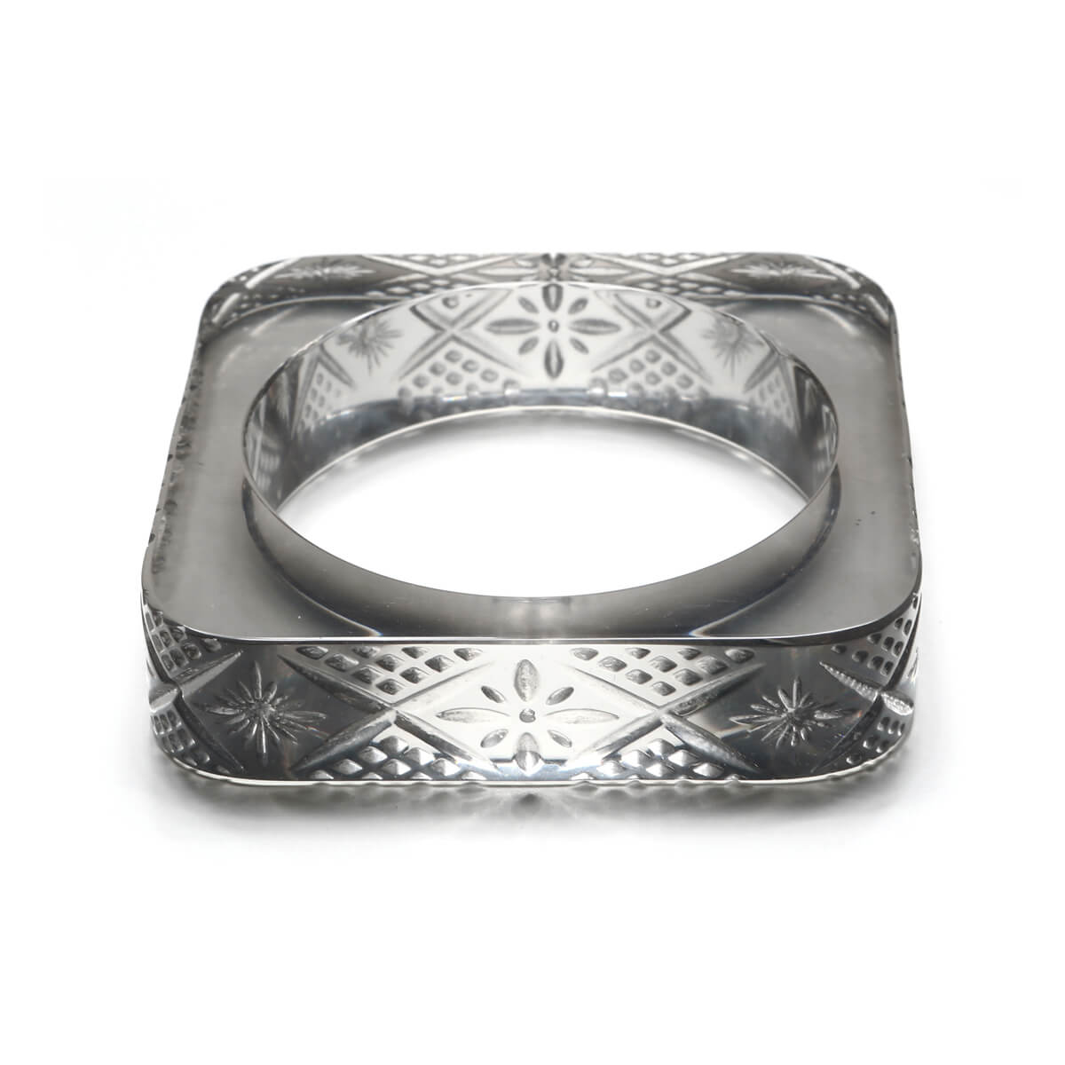 Etched Square Bangle Light Grey